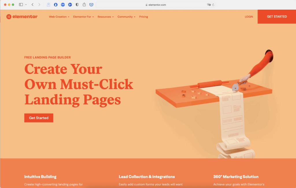 elementor wordpress plug in landing page